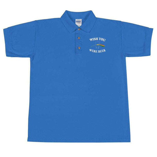Wish You Were Beer Embroidered Polo Shirt - C'monStore #Polo Shirts
