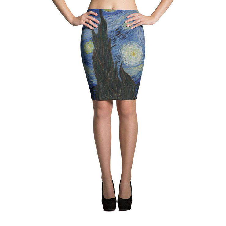 Van Gogh Starry Night Pencil Skirt - C'monStore #Skirts