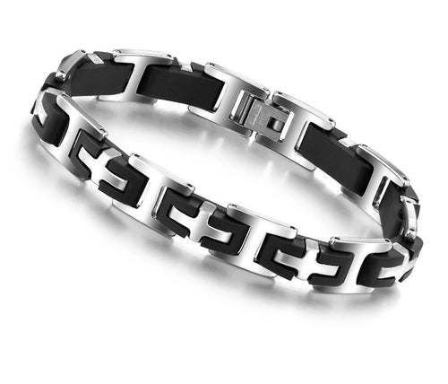 Mens Mix Link Cross Bracelet
