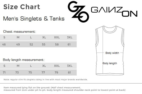 Men's Singlets and Tanks Size Chart