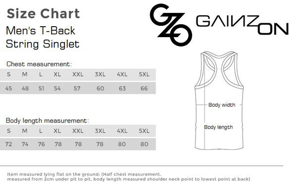 Men's T-Back String Singlet Size Chart