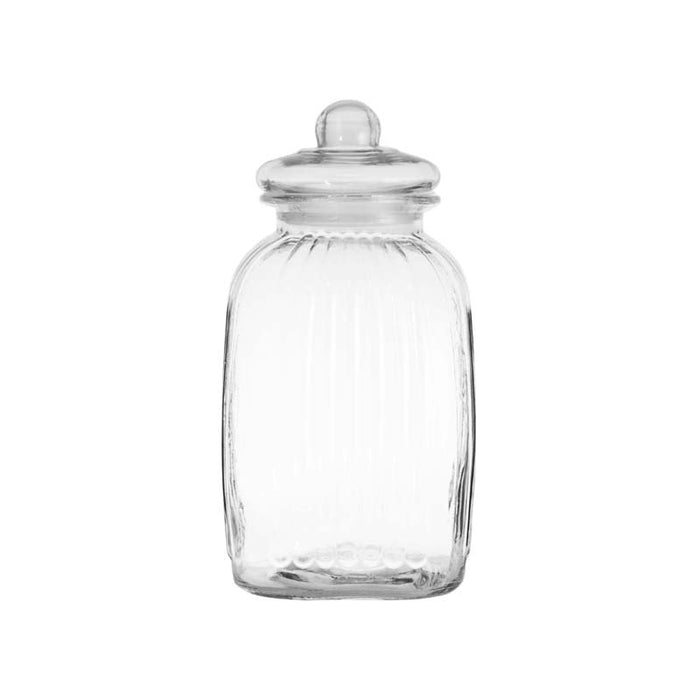 REGENT SQUARE RIBBED CANISTER WITH GLASS LID (4.8L)x6 - DECO-Vie