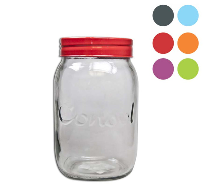 JAR WITH SMARTIE COLOURED LID (1L), PACK OF 12 - DECO-Vie