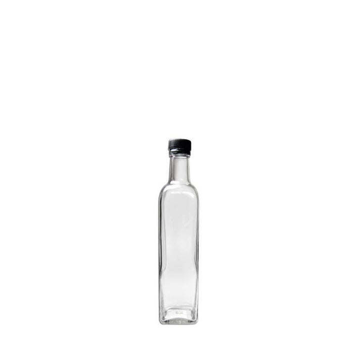 SQUARE OIL & VINEGAR BOTTLE WITH BLACK LID (500ML)x6 - DECO-Vie