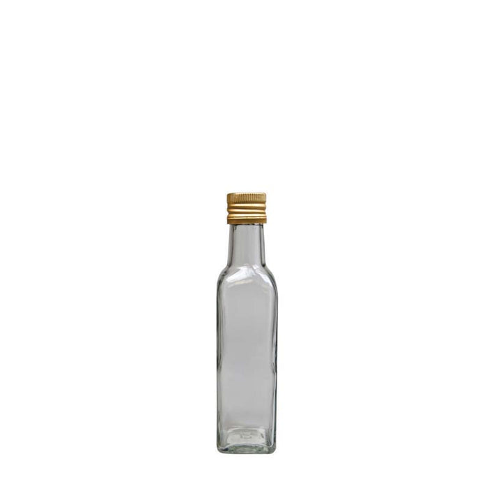 SQUARE OIL & VINEGAR BOTTLE WITH GOLD LID (500ML), PACK OF 6 - DECO-Vie
