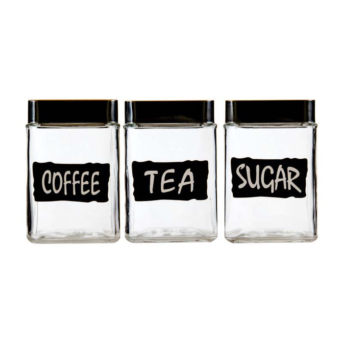 REGENT SQUARE GLASS 'TEA,COFFEE,SUGAR' CANISTERS WITH S/STEEL LIDS, 3 PIECE SET (1L) (90X90X145MM - DECO-Vie
