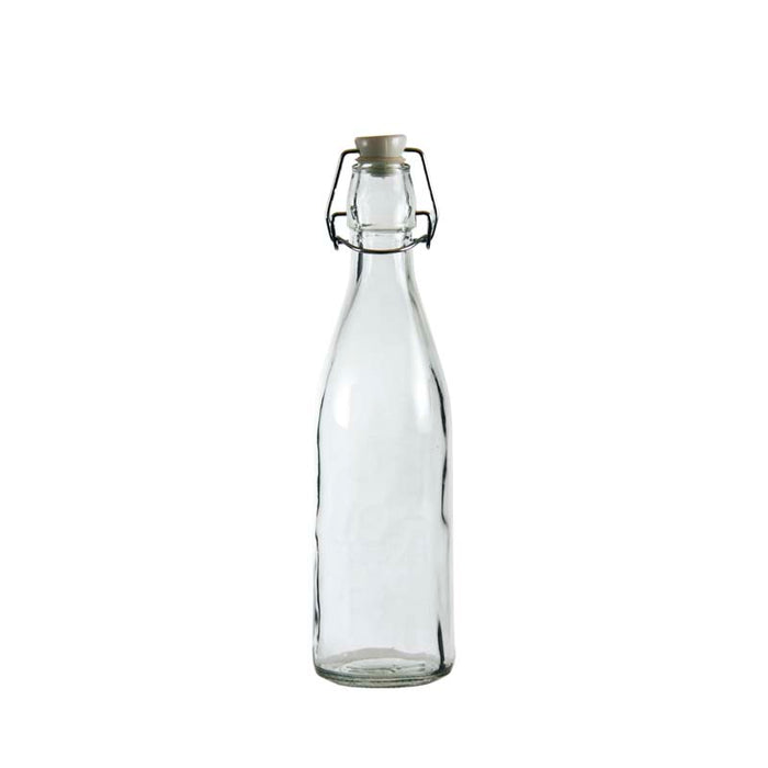 REGENT GLASS BOTTLE WITH WHITE CLIP-TOP LID, 6 PACK (500ML) - DECO-Vie