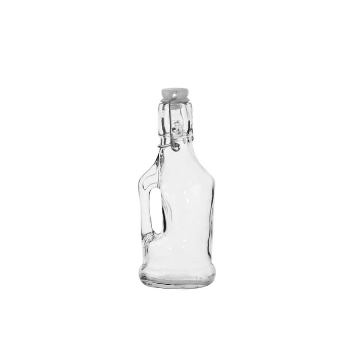 GLASS BOTTLE WITH HANDLE AND WHITE CLIP-TOP LID, 6 PACK (200ML) - DECO-Vie