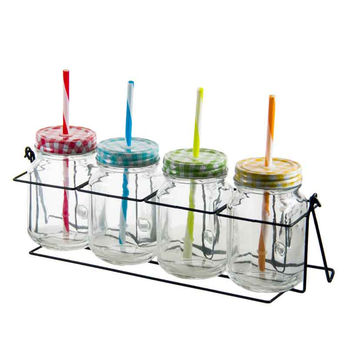 REGENT MASON JARS WITH COLOURED CHECKED LIDS IN WIRE RACK, 4 PIECE SET (105X78X135 | 380X120X145MM)x10 - DECO-Vie