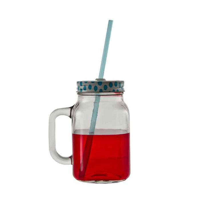 REGENT MASON JAR MUG WITH COLOURED LID & STRAW (620ML) (125X85X145MM)x10 - DECO-Vie