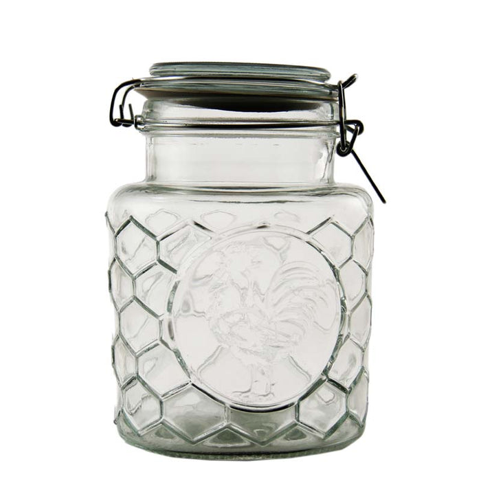 REGENT HERMETIC CANISTER WITH EMBOSSED ROOSTER MOTIFF (1.39L) - DECO-Vie