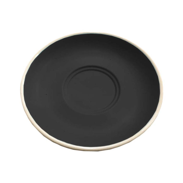 REGENT STONEWARE CAP. & LONG BLACK DOUBLE WELL SAUCER MATT BLACK (140MM:D) - DECO-Vie