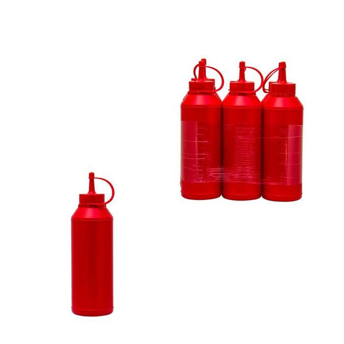 PLASTIC SAUCE BOTTLE RED, 6 PACK (500ML) - DECO-Vie