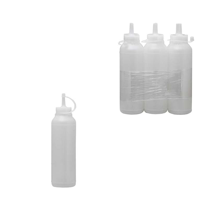 PLASTIC SAUCE BOTTLE WHITE, 6 PACK (500ML) - DECO-Vie