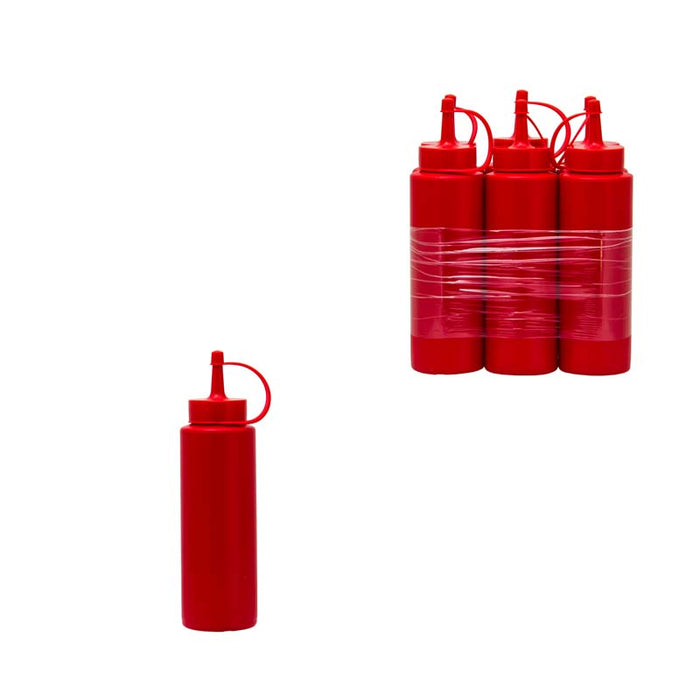 PLASTIC SAUCE BOTTLE RED, 6 PACK (250ML) - DECO-Vie
