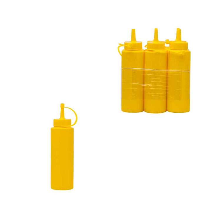 PLASTIC SAUCE BOTTLE YELLOW, 6 PACK (250ML) - DECO-Vie