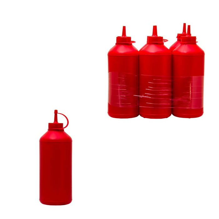 PLASTIC SAUCE BOTTLE RED, 6 PACK (1L) - DECO-Vie