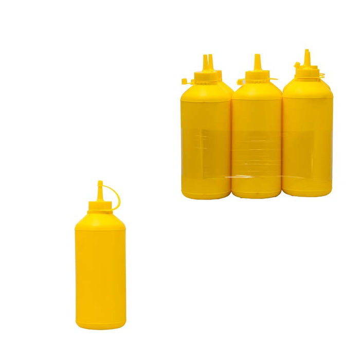 PLASTIC SAUCE BOTTLE YELLOW, 6 PACK (1L) - DECO-Vie