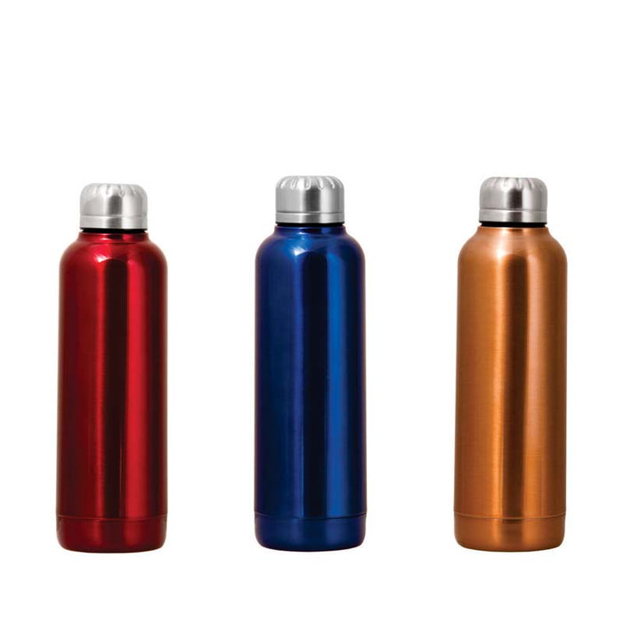 VACUUM FLASK DOUBLE WALLED S/TEEL CYLINDRICAL BOTTLE IN 3 ASSORTED COLOURS (500ML) - DECO-Vie