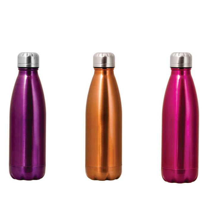 VACUUM FLASK DOUBLE WALLED S/STEEL BOTTLE IN 3 ASSORTED COLOURS (500ML) - DECO-Vie