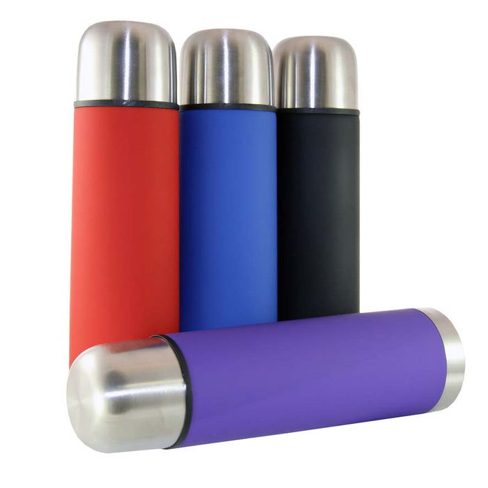 VACUUM FLASK WITH NON-SLIP OUTER & S/STEEL CUP IN ASSORTED COLOURS (500ML) - DECO-Vie