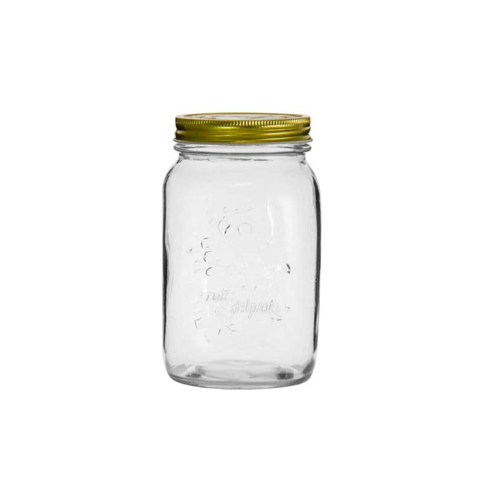 REGENT EMBOSSED MASON JAR WITH TIN LID (1L) (100MM:DX170MM:H)x10 - DECO-Vie
