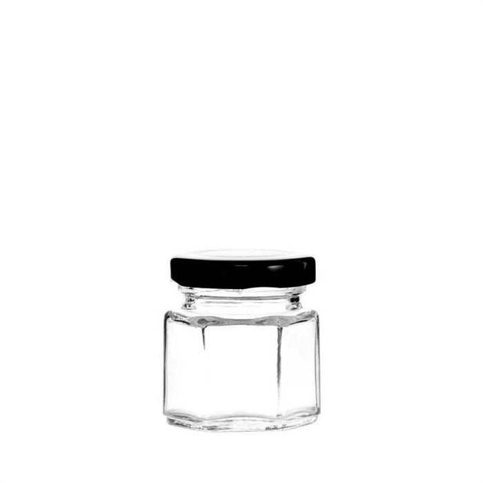 REGENT FACETED JAR WITH BLACK LID 50ML (36X36X50MM)x12 - DECO-Vie