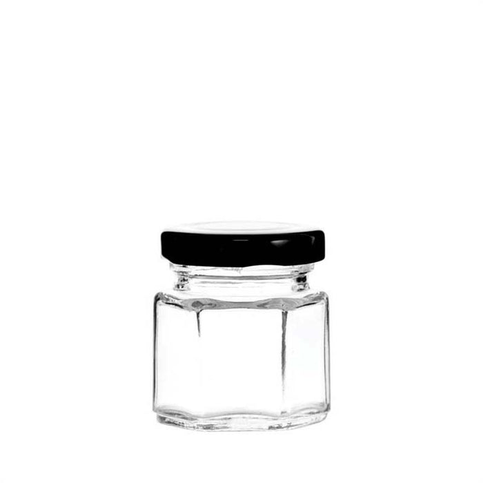 REGENT FACETED TAPERED JAR WITH BLACK LID (250ML)x12 - DECO-Vie