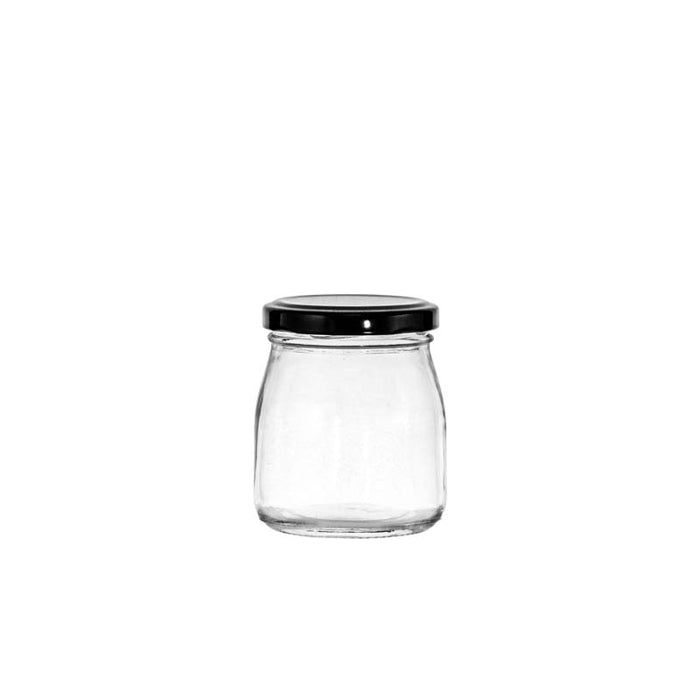 REGENT ROUND JAR WITH BLACK LID, 12 PACK (150ML) (60MM:DX78MM) - DECO-Vie