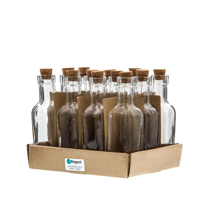 SQUARE BOTTLE WITH CORK LID, 12 PACK (190ML) 45X45X95MM - DECO-Vie