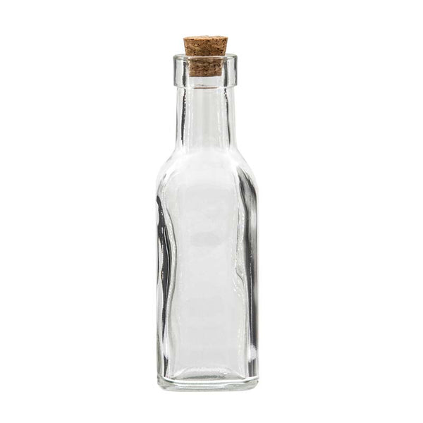 Square bottle with cork lid 12 pack 190ml 45x45x95mm i for Spa uniform suppliers cape town