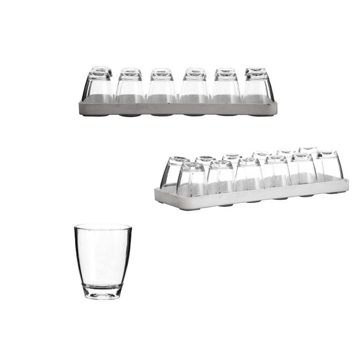BAR BUTLER 12 CLEAR PLASTIC SHOT GLASSES ON TRAY (40ML) - DECO-Vie