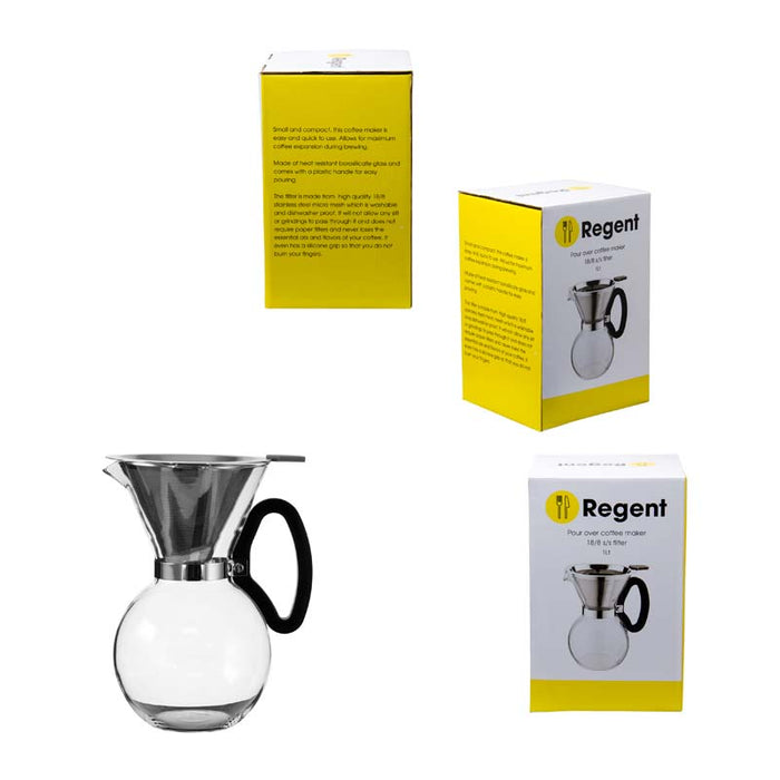 REGENT COFFEE MAKER GLASS POUR OVER CARAFE WITH S/S FILTER ESPRESSO 8 CUP - DECO-Vie