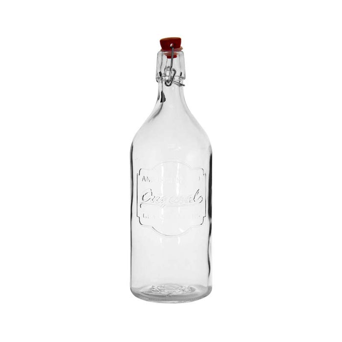 REGENT EMBOSSED DESIGN GLASS BOTTLE WITH RED CLIP-TOP LID (1L) - DECO-Vie