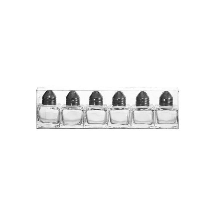 REGENT SMALL SALT & PEPPER GLASS SHAKERS IN ACETATE BOX, 6 PACK (10ML) - DECO-Vie