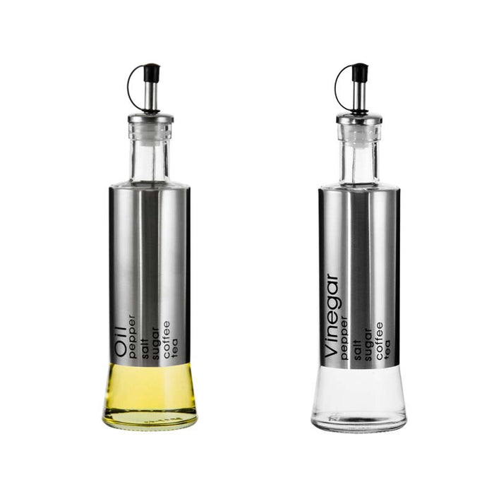REGENT OIL & VINEGAR GLASS BOTTLES WITH METAL COATING, 2 PIECE SET (300ML) - DECO-Vie