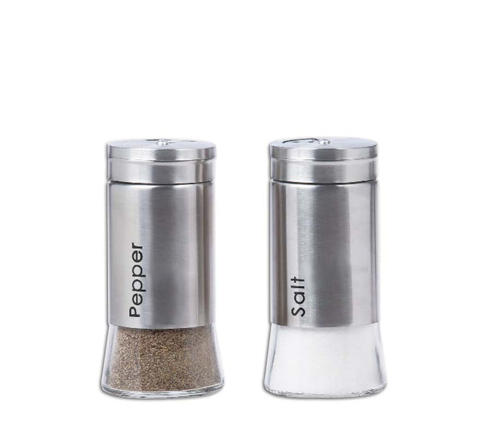 REGENT GLASS SALT & PEPPER SHAKERS WITH METAL COATING, 2 PIECE SET (125ML) - DECO-Vie