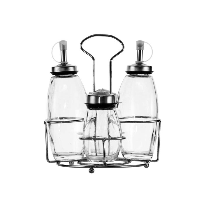 REGENT GLASS CRUET SET ON STAND, 4 PIECE SET (2X230ML | 2X130ML) - DECO-Vie