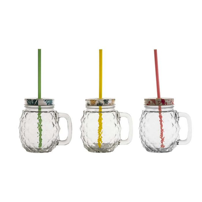 REGENT PINEAPPLE MASON JAR CLEAR WITH STRAW & ASST. FUN LIDS 500ML (125X95X125MM)x6 - DECO-Vie