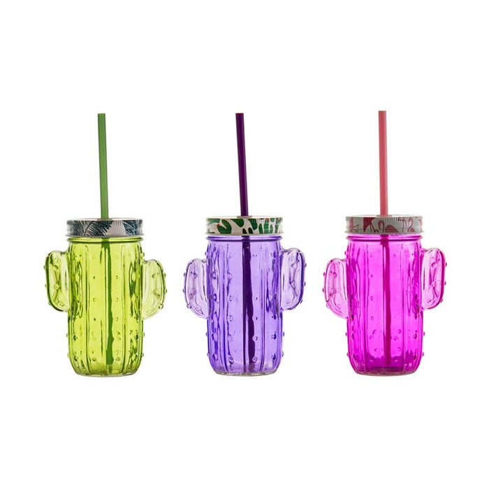 REGENT CACTUS MASON JAR 4 ASST.COLOURS WITH STRAW & FUN LID 400ML (110X68X140MM)x6 - DECO-Vie