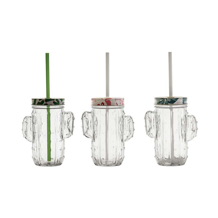 CACTUS MASON JAR CLEAR WITH STRAW & ASST. FUN LID (400ML) (110X68X140MM)x6x - DECO-Vie