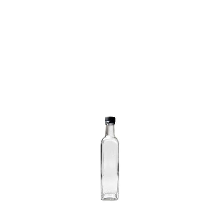 SQUARE OIL & VINEGAR BOTTLE WITH BLACK LID (250ML)x6 - DECO-Vie