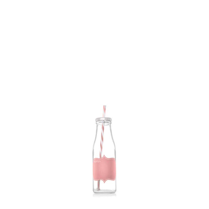 CONSOL MILKSHAKE BOTTLES WITH PINK NOTES & STRAW (375ML), PACK OF 24 - DECO-Vie