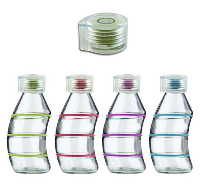 CONSOL CURVY BOTTLE IN ASSORTED COLOURS WITH CLEAR/SILICONE LID (350ML), PACK OF 24 - DECO-Vie