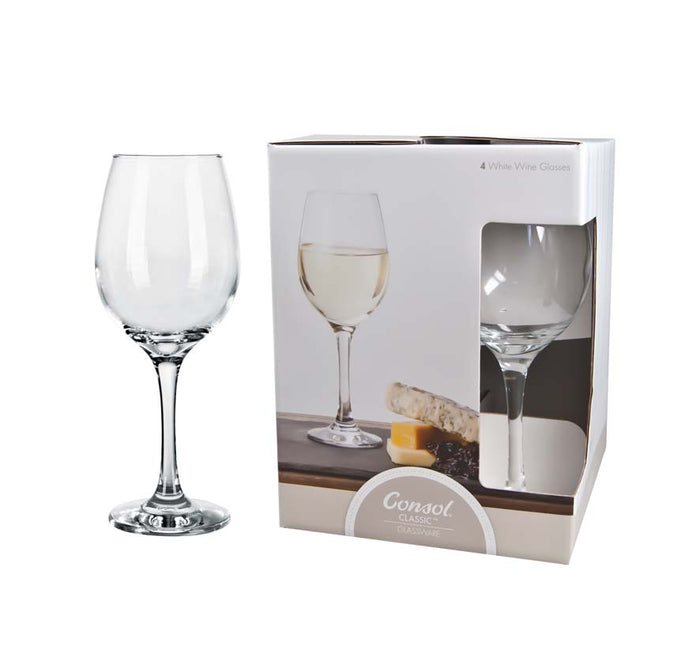 CONSOL LYON STEM WHITE WINE GLASS, 4 PACK (385ML) - DECO-Vie