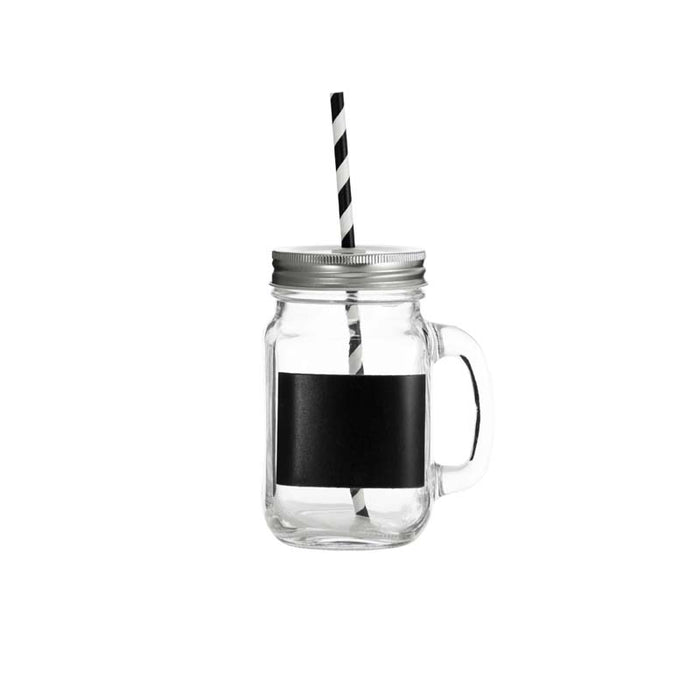 REGENT MASON JAR MUG WITH BLACK NOTES, LID & STRAW (450ML) (105X78X135MM)x10 - DECO-Vie