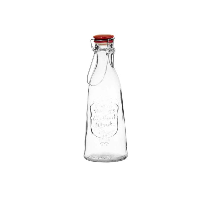 REGENT EMBOSSED DESIGN GLASS BOTTLE WITH RED CLIP-TOP LID (1L)x6 - DECO-Vie