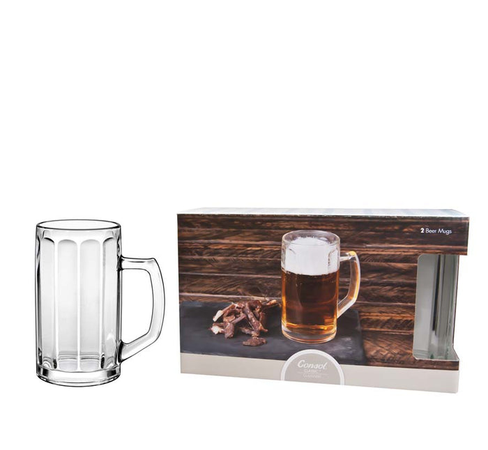 CONSOL MUNICH FACETED BEER MUG, 2 PACK (490ML) - DECO-Vie