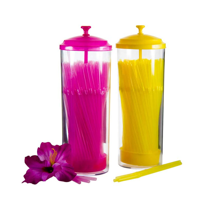 BAR BUTLER BENDY COLOURED STRAWS IN HOLDER, 100 PCS (4MM) - DECO-Vie