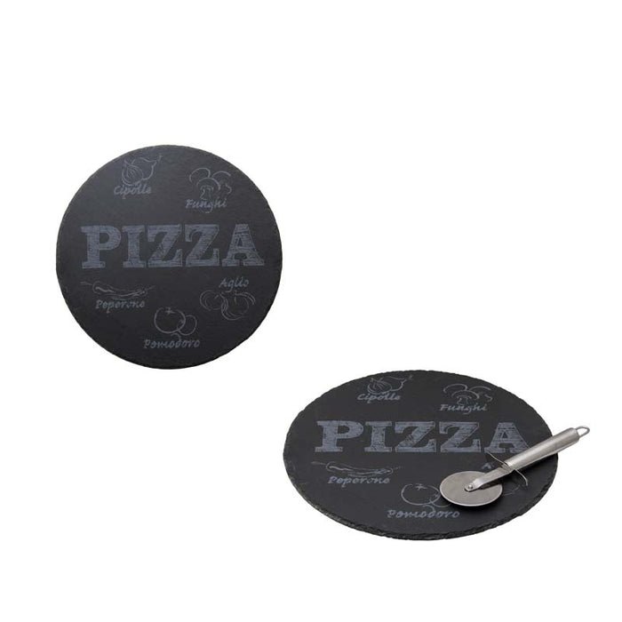 REGENT SLATE PIZZA BOARD W/CUTTER 2PC SET 300MM:D LASER ETCHED - DECO-Vie